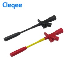 Cleqee P5005 2pcs 10A Professional Piercing Needle Test Clips Multimeter Testing Probe Hook with 4mm Socket