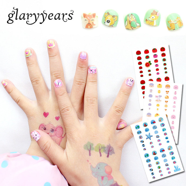 Glaryyears 12 Designs 1 Sheet Children Cute Nail Sticker Se Cartoon