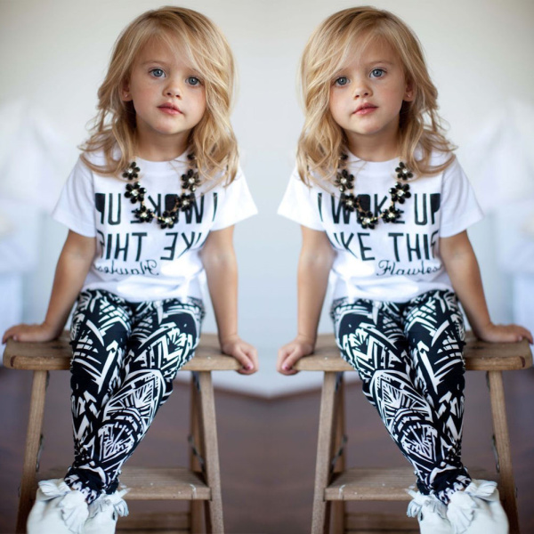 5cc8a2044 2017 Hot Brand Baby Girls Stripe Outfits I Woke Up Like This Letter zebra  printed summer T Shirt+Pants 2Pcs Girls Clothes Set-in Clothing Sets from  Mother ...
