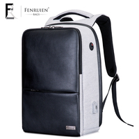 FENRUIEN Multifunction USB Charging Men 15 Laptop Backpack For Teenager Fashion Male Leather Casual Travel Backpack