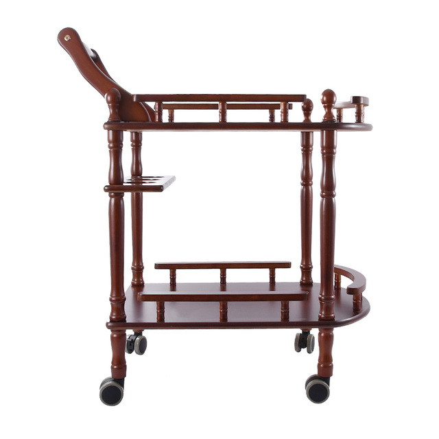 New Hotel Trolley Solid Wood Coffee Tables Multipurpose Shelf Display Rack Household Double-layer Movable Tea Tables Dining Car 2