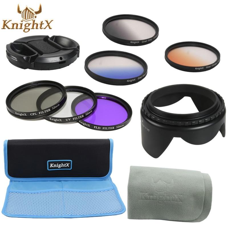KnightX UV CPL FLD filtro gris graduado Color ND para Canon Nikon Sony Pentax Olympus 49mm 52mm 55mm 58mm 62mm 67mm lente 77