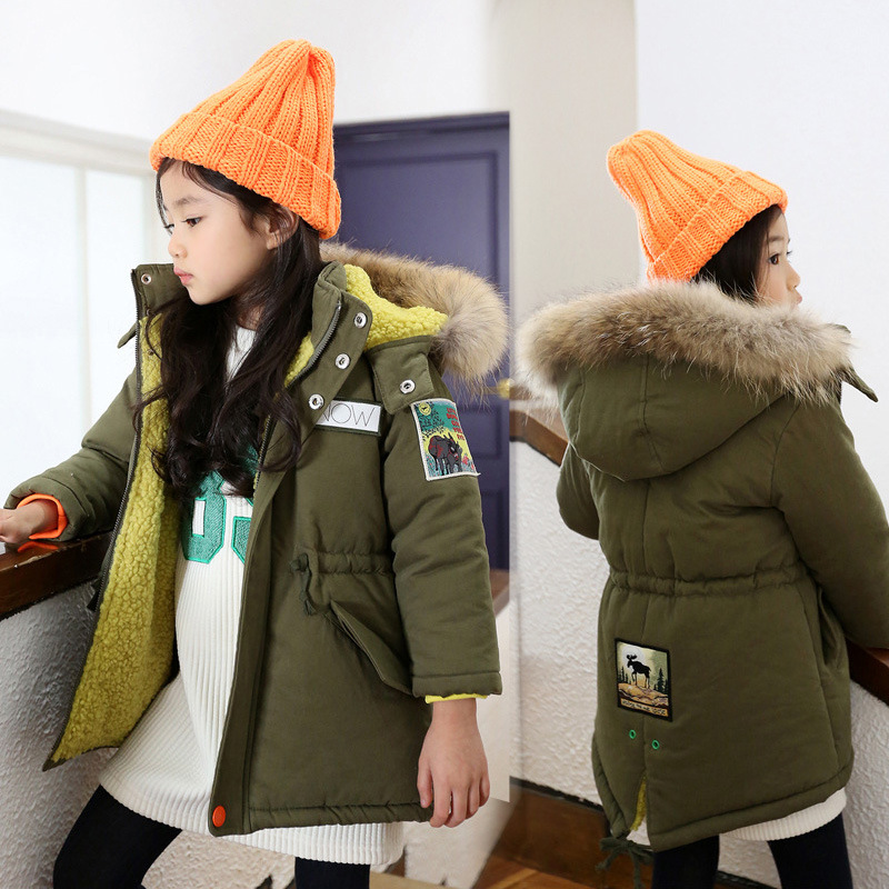 Thick Winter Children Jackets girls Coats Hooded  army green Kids Outerwear Cotton Padded Baby Boy Snowsuit Cold Winter Outwear