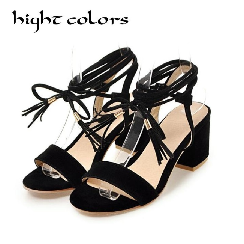 Brand Shoes Woman Flock Gladiator Sandals Women Summer Lace Up Sandals Thick Heels Fringe Summer Beach Women Sandals Size 40 43 phyanic 2017 gladiator sandals gold silver shoes woman summer platform wedges glitters creepers casual women shoes phy3323