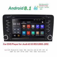 2 Din Car Multimedia Player GPS Android 8.1 DVD Automotive Radio For Audi A3 8P/A3 8P1 3 door Hatchback/S3 8P/RS3 Sportback DAB+