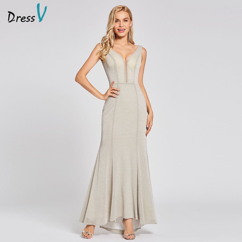 Dressv silver long trumpet   evening     dress   zipper up cheap v neck sweep train wedding party formal   dress   mermaid   evening     dresses