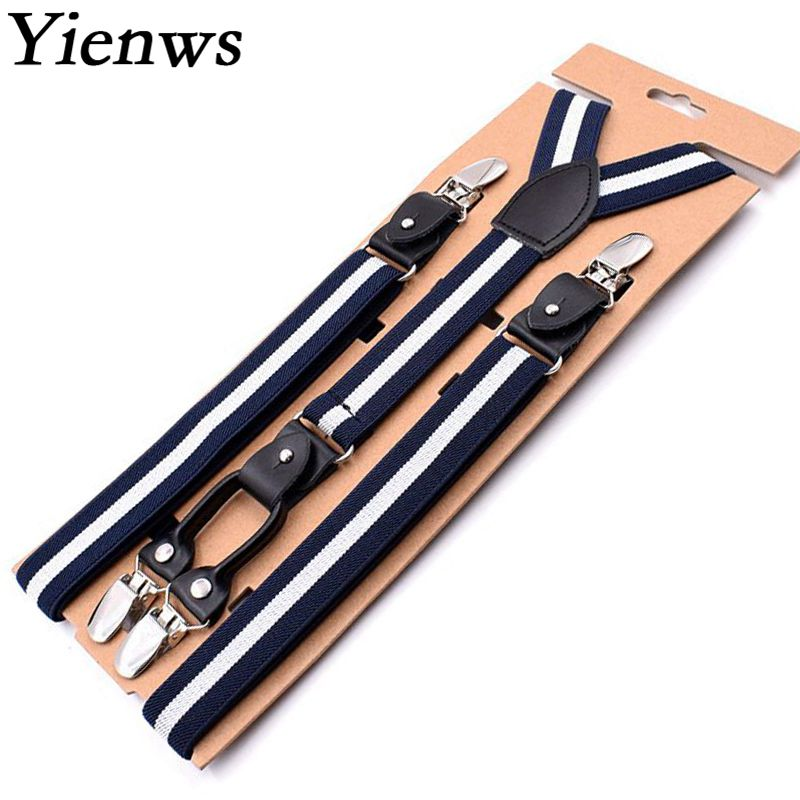 Yienws 115cm Breteles Mens Suspenders 4 Clip Navy Striped Trouser Strap Suspenders Male Leather Vintage Braces For Men YiA125