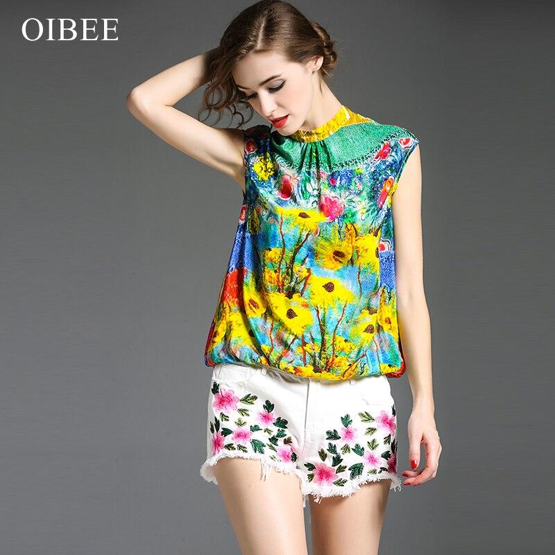 neue mit Oibee2019 Sommer und reine Design Farbe Mode Seidenbluse gedruckt losenrmel Rock LVjSUzMpGq
