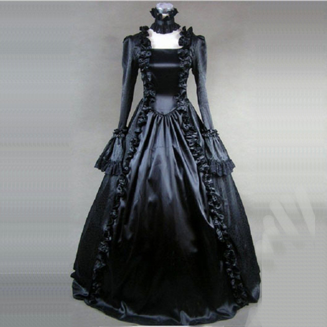 240c013b6bd9 Retro Gothic Victorian historical Party Dress Black Square Collar Ruffles  Masquerade Princess Ball Gowns Costume For 2018
