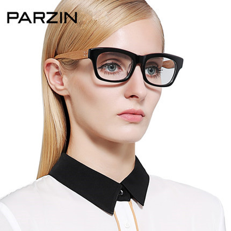 Parzin Vintage Eyeglasses Frame Big Box Male Women Plain Glasses Fashion Large Frame Mirror With Box Black 3333
