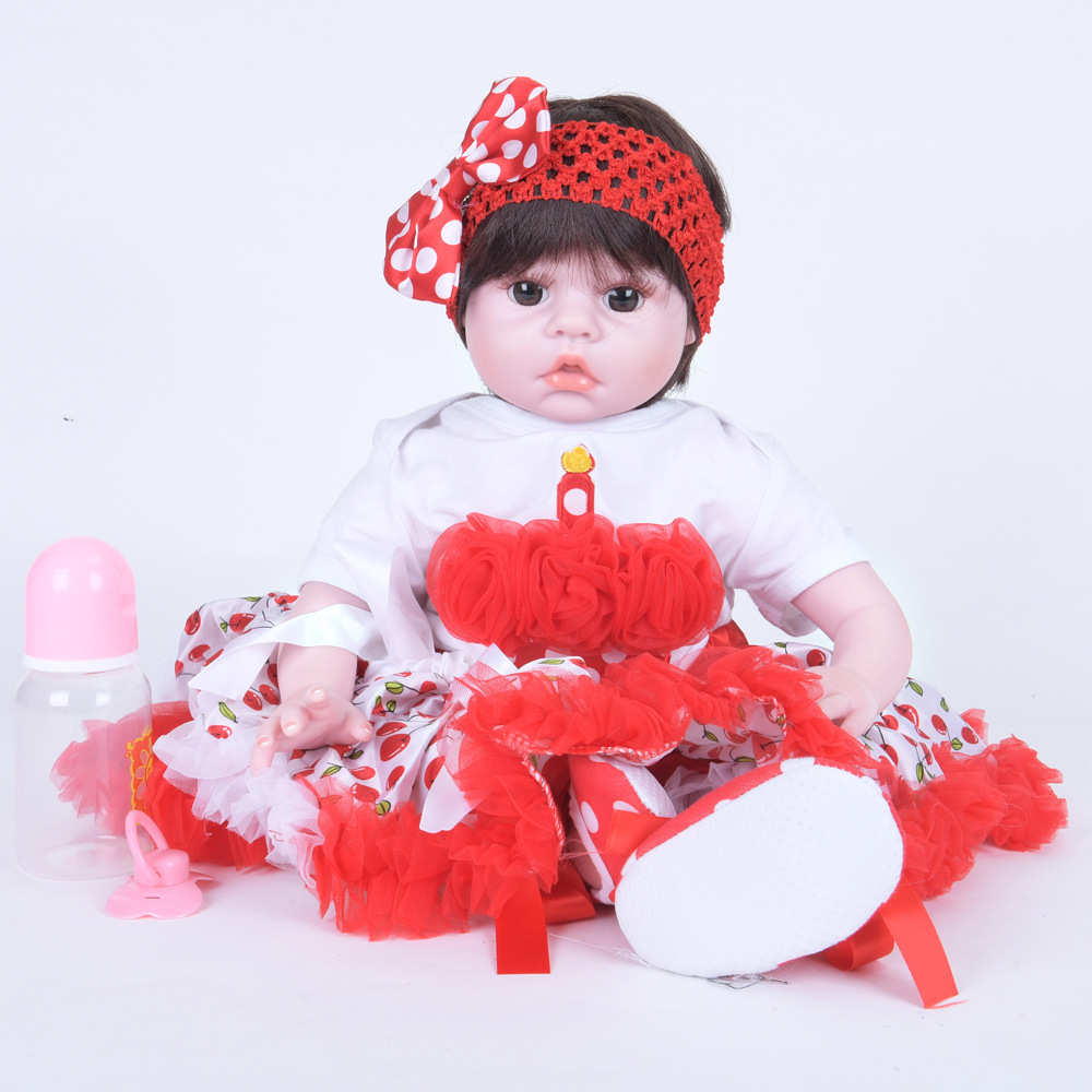 55cm Lovely Princess Reborn Girl Doll Soft Silicone Realistic Newborn Baby with Cloth Body Toy for Kids Birthday Xmas Gift Bebe цены