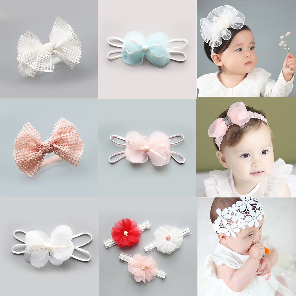Baby cute hair band children's polyester hair accessories princess style newborn   headwear   girls head flower headband