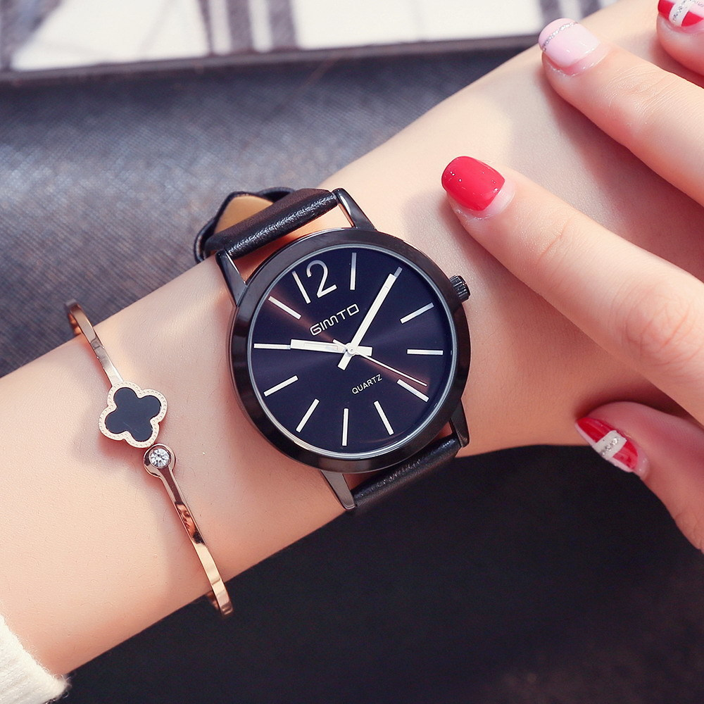 GIMTO Womens Watches Women Fashion Watch 2017 Luxury Brand Watch Women Dress Leather Band Quartz Ladies Watch All Black Clock xinge brand fashion women quartz wrsit watches clock leather strap business watch ladies silver luxury female sport womens watch