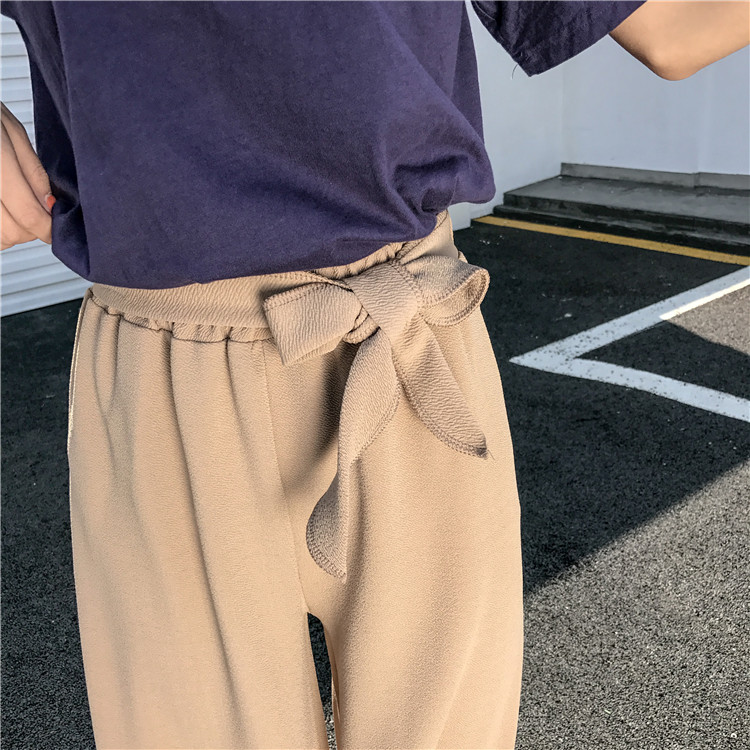 19 Women Casual Loose Wide Leg Pant Womens Elegant Fashion Preppy Style Trousers Female Pure Color Females New Palazzo Pants 11