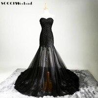 SOCCI Sexy Preto Tule Francês Lace Longa Noite Elegante Vestido Bordado Corpo Vestidos de Baile querida Frisado vestidos de Festa de Casamento
