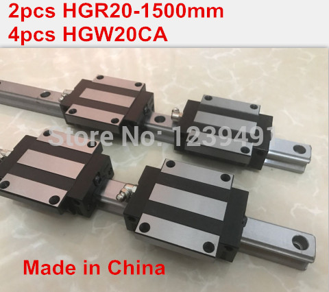 HG linear guide 2pcs HGR20 - 1500mm + 4pcs HGW20CA linear block carriage CNC partsHG linear guide 2pcs HGR20 - 1500mm + 4pcs HGW20CA linear block carriage CNC parts