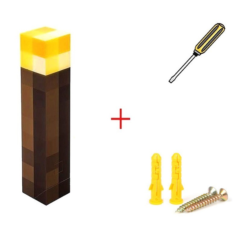 Light Up Minecraft Torch Original LED Lamp Wall Mount Decorations Game design stone Ore Square Light