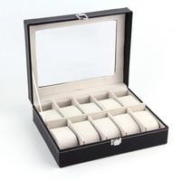 1Pcs Black PUleather 10Grid professional Wrist Watch Display Box Jewelry Storage Holder Organizer Case top Quality