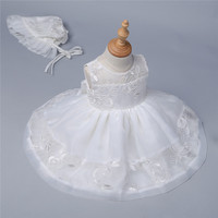 2Pcs Infant Baby Girls Dress Embroidered Princess Birthday Party Dresses Wear Christening Baptism Dress Bonnet 3