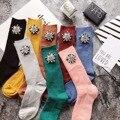 Европейская Мода Женщины Носки Алмазные Короткие Носки Осень/Зима жемчужина Цветок Gem Конфеты Цвет Ручной Работы Носки