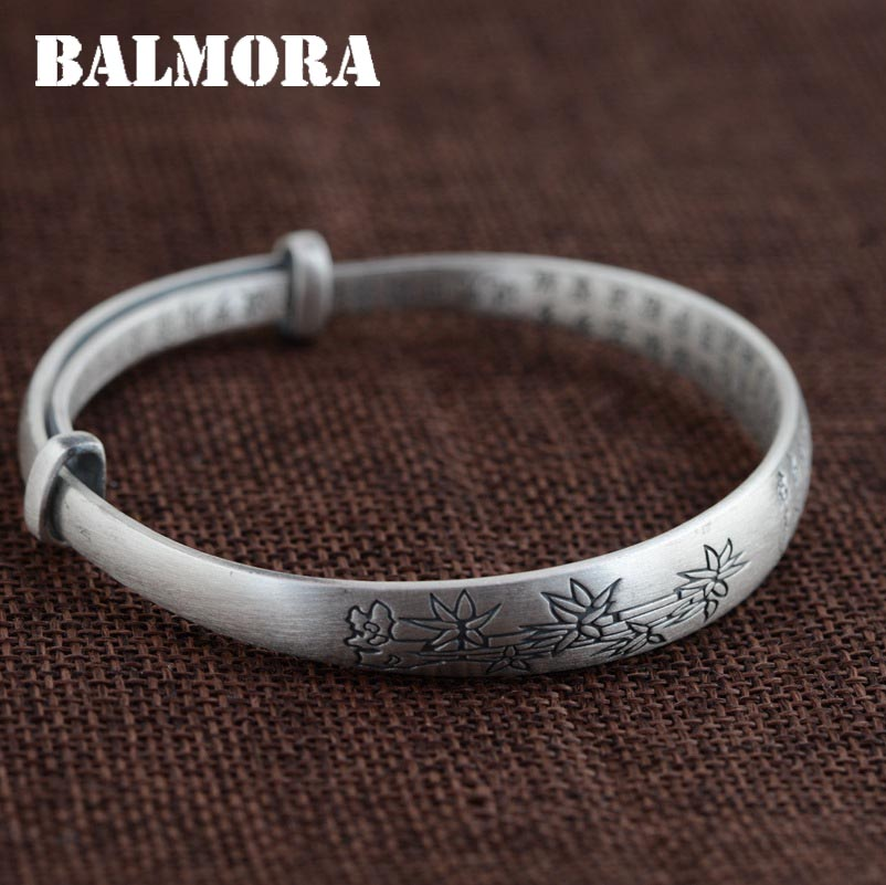 BALMORA 999 Pure Silver Flower Bamboo Bangles for Women Men Vintage Buddhistic Heart Sutra Jewelry Gift Accessories SZ0198 balmora 999 pure silver buddha