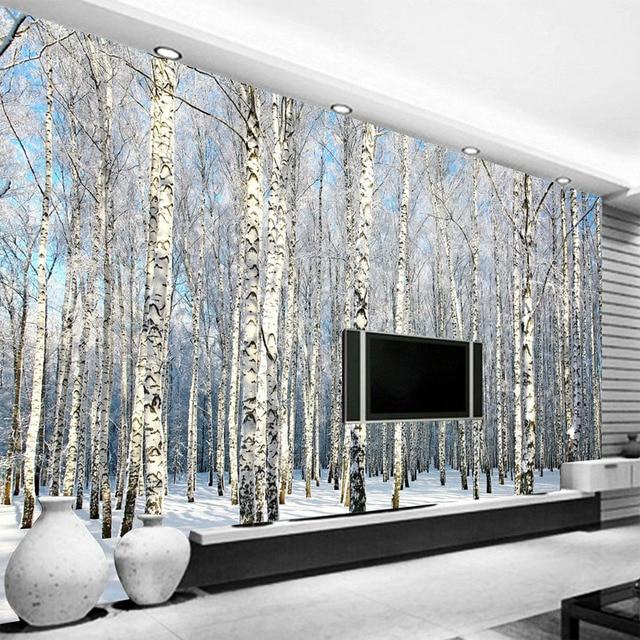 Custom 3D Photo Wallpaper Birch Forest Snow Landscape Living Room Bedroom TV Background Wall Mural