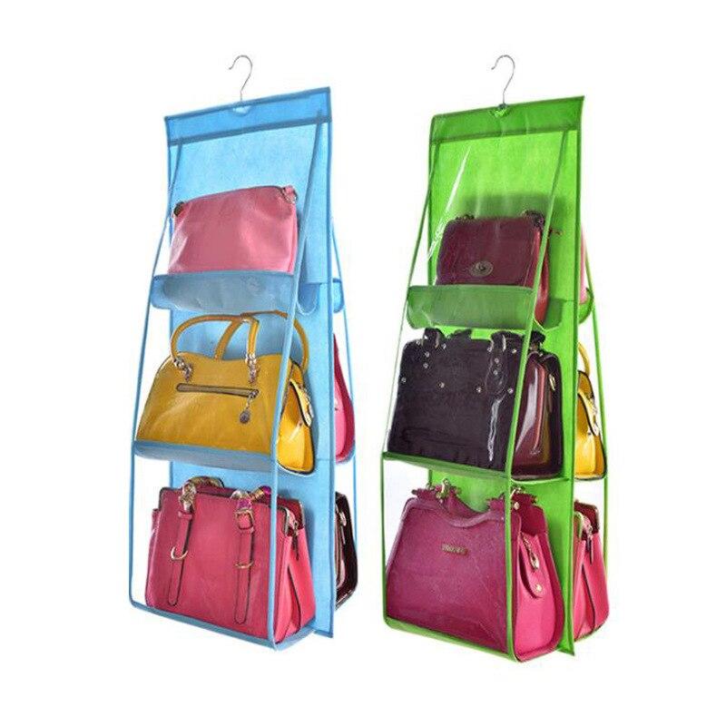 Dubbelzijdig Transparant 6 Pocket Opvouwbaar Opknoping Handtas Portemonnee Opbergtas Diverse Tidy Organizer Kledingkast Closet Hanger