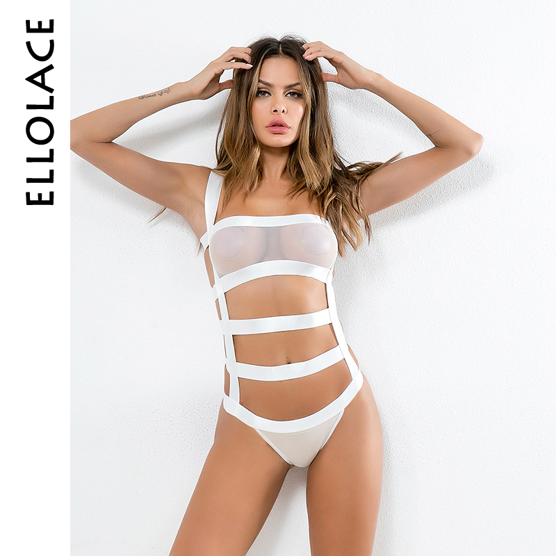Ellolace sexy bandage transparent bodysuit women 2019 slim black chic   jumpsuit   sexy bodycon bodysuit hot erotic women catsuit