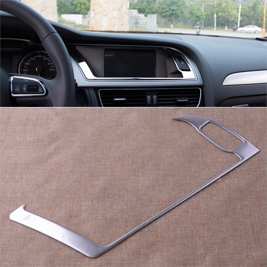 CITALL Car Auto Center Console Navigation Warning Light Panel Cover Trim Stainless Steel fit for <font><b>Audi</b></font> <font><b>A4</b></font> B8 A5 <font><b>2013</b></font> 2014 2015 image