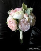 2017 nuevo Rosa blanca de seda Artificial flores de peonía ramo de la boda ramo de novia dama de Honor novia explotación de flores para la boda