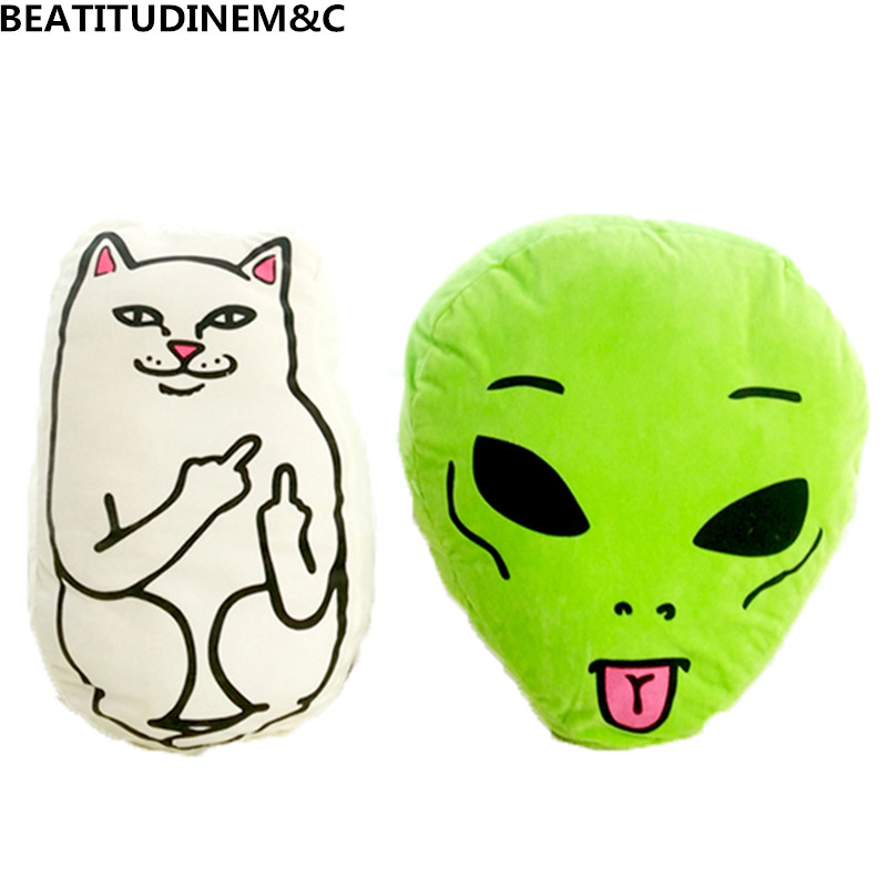 Mittelfinger Lustige Katze Personalisierte Geburtstag Geschenk Büro Nickerchen Kissen Kreative Katze/alien Kissen Plüsch Spielzeug Wohnkultur Schrecklicher Wert