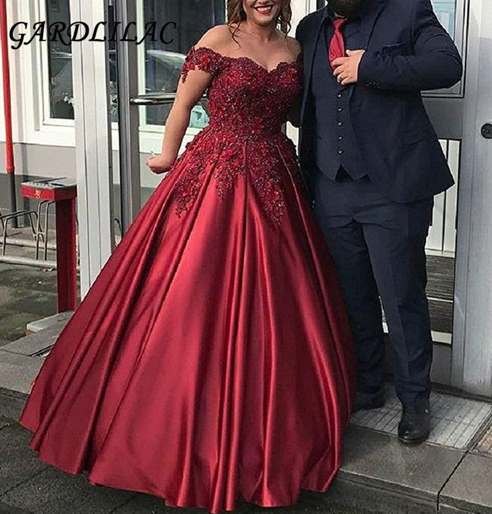 Burgundy V Neck Long Prom Dresses 2019 A line Satin Appliques Evening Party Dress Sweet 16 Dresses Wedding Party dresses G063-in Prom Dresses from Weddings & Events    1
