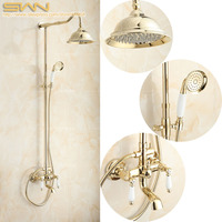 Luxury Gold Color Bathroom Shower Faucet Bath Mixer Tap Rainfall Head Pattern Ceramic Handheld Shower Set