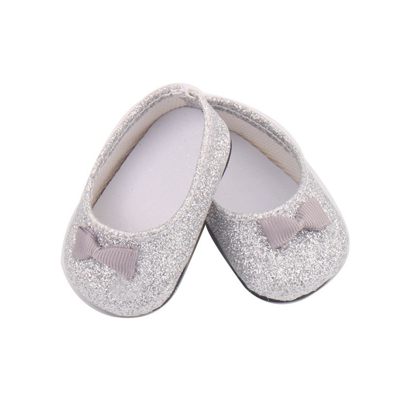 Baby Born Cool Fashion Shoes Bowknot Dress Shoe For 18 Inch Our Generation American Girl Doll Clothes Toy glitter doll shoes star dress shoe for 18 inch our generation american girl doll