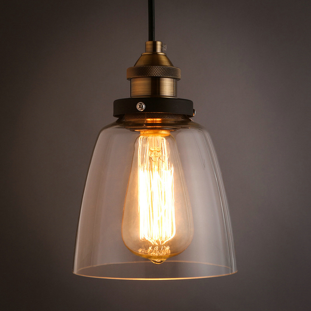 MAMEI Free Shipping Country Style Glass Pendant Light Fixtures With Clear  Glass Lamp Shade CE And