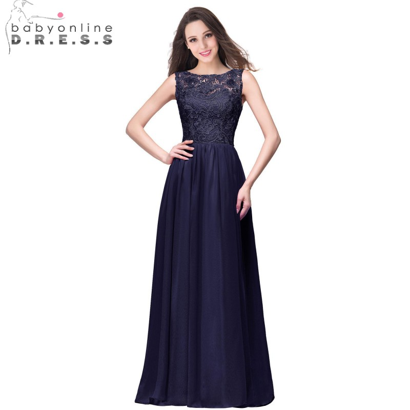 Elegant Dark Navy Chiffon Bridesmaid Dresses Long 2017 Sleeveless ...