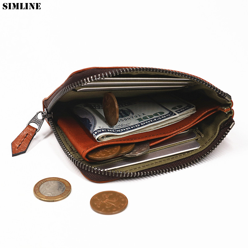 Genuine Leather Wallet For Men Women Unisex Vintage Cowhide Short Small Slim Zipper Wallets Purse With Coin Pocket Card Holder