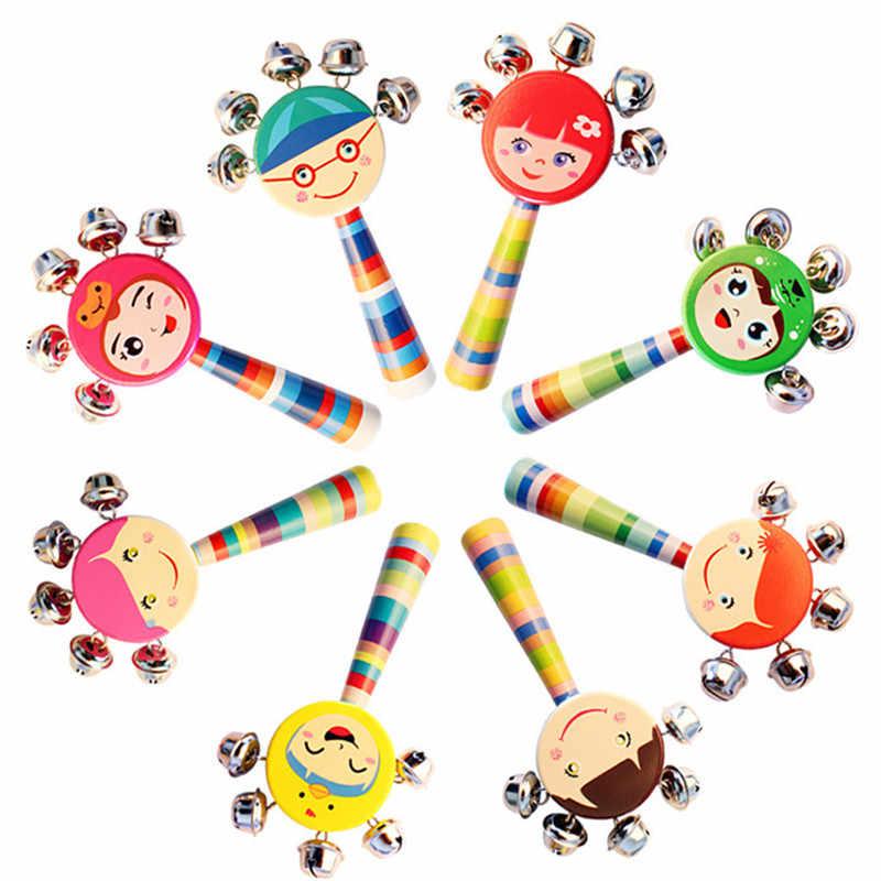 1 Pza 0-2 T bebé Cute Jingle sonajeros juguetes arcoíris Pram mango de cuna campana de madera palo agitar Juguetes juguetes de sonido para bebé recién nacido