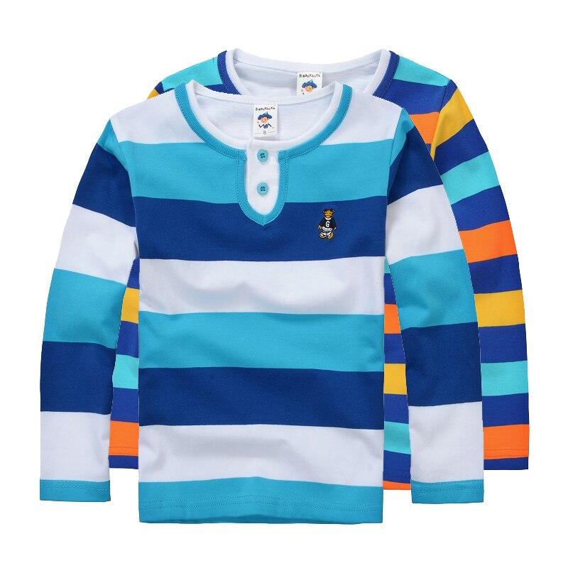 High Quality Boys T shirts Long Sleeve Children Sweaters Stripe Pattern Baby Boys Girls Unisex Tops Brand New Fashion Tees