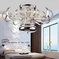 Modern Floral Crystal Chandelier Lights Crystal Lusters Lamp G4 Crystal Lighting Flush Mounted for Ceiling