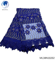 BEAUTIFICAL blue heavy lace fabric nigerian lace fabric lot guangzhou lace fabric french with rhinestones latest design ML38N102