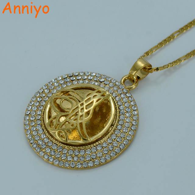 Anniyo Turkey Coin Necklace For Women Gold Color Arab Coins Jewelry Whole Osmanli Turklerin Pendant Rhinestone
