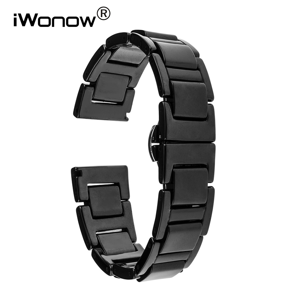 20mm Ceramic Watchband + Tool for Garmin Vivomove Huawei Watch 2 Sport Withings Steel HR 40mm Butterfly Buckle Wrist Band Strap garmin vivofit 2