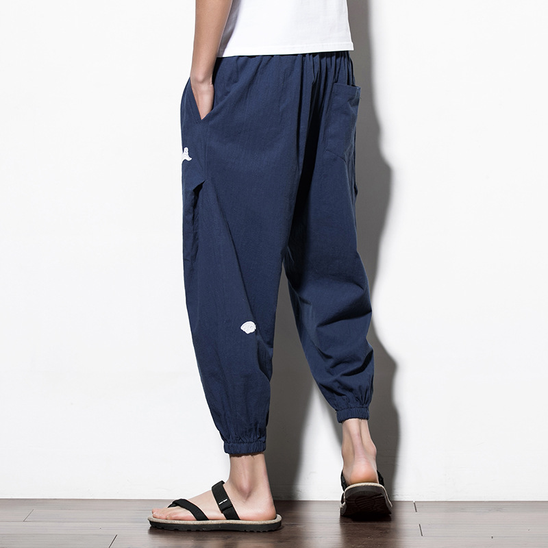 Chinese Style Loose Men Pencil Pant Casual Ankle-length Pants Cotton Linen Embroidery Plus Size Mid Waist Trouses 3XL 4XL 5XL