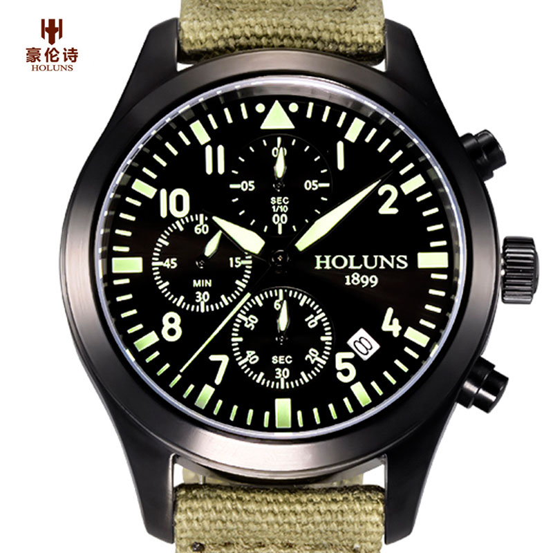 HOLUNS Mens Aviator Pilot Wrist Watch Canvas Band Strap Chronograph Auto Date Sport Quartz Luminous relogio masculino цена и фото