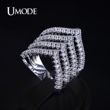 UMODE Luxury Rings For Ladies Zirconia Micro Paved Rhodium plated V Shape Design Brand Ring Women Fashion Jewelry AUR0177B
