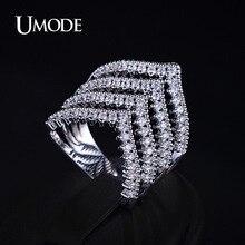 UMODE Luxury Rings For Ladies Zirconia Micro Paved Rhodium plated V Shape Design Brand Ring Women