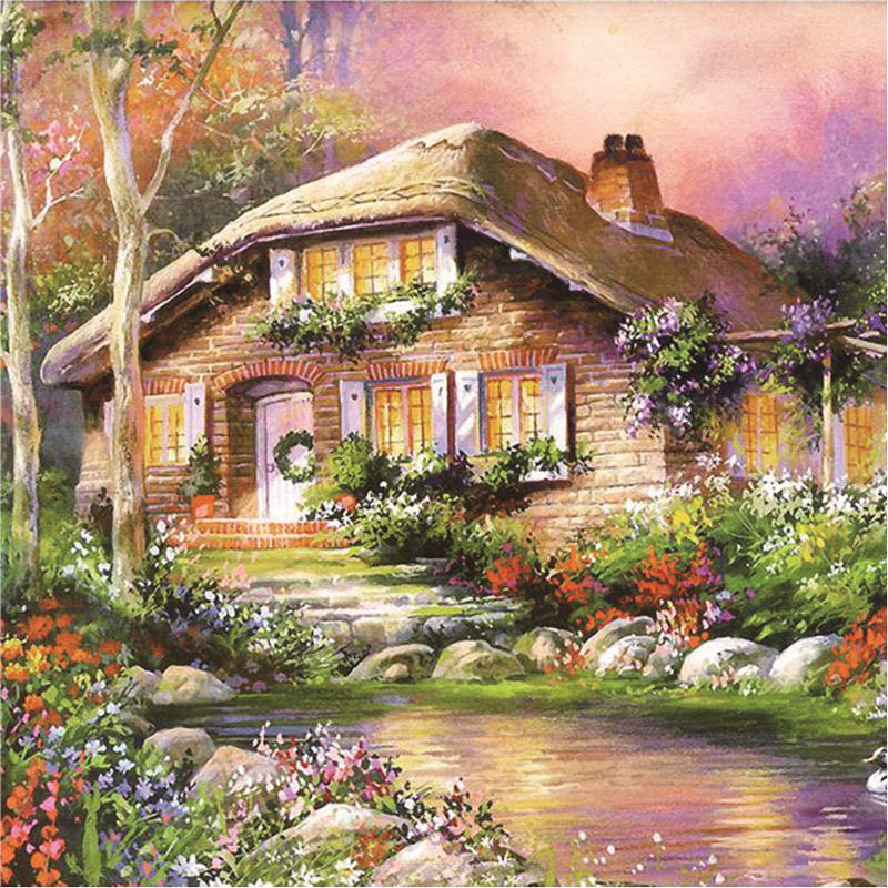 DIY Diamond painting cross stitch Painting Crafts Diamond Embroidery Decoration Gifts Landscape 5D DIY Diamond Mosaic Cabin in Diamond Painting Cross Stitch from Home Garden