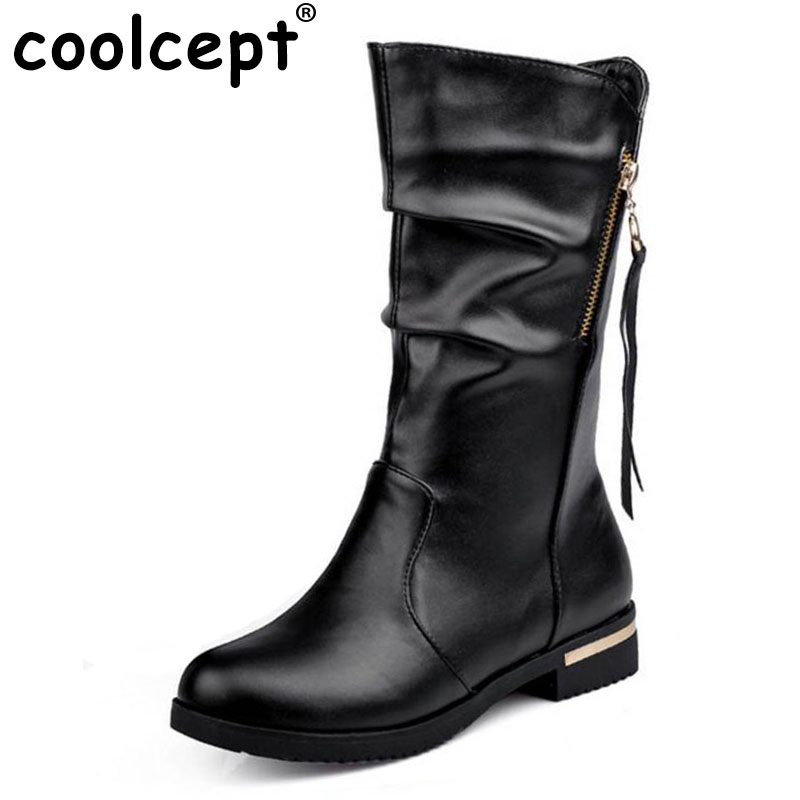 Coolcept women flat half short boots winter martin snow boot classics quality footwear office warm botas shoes P19939 size 34-42