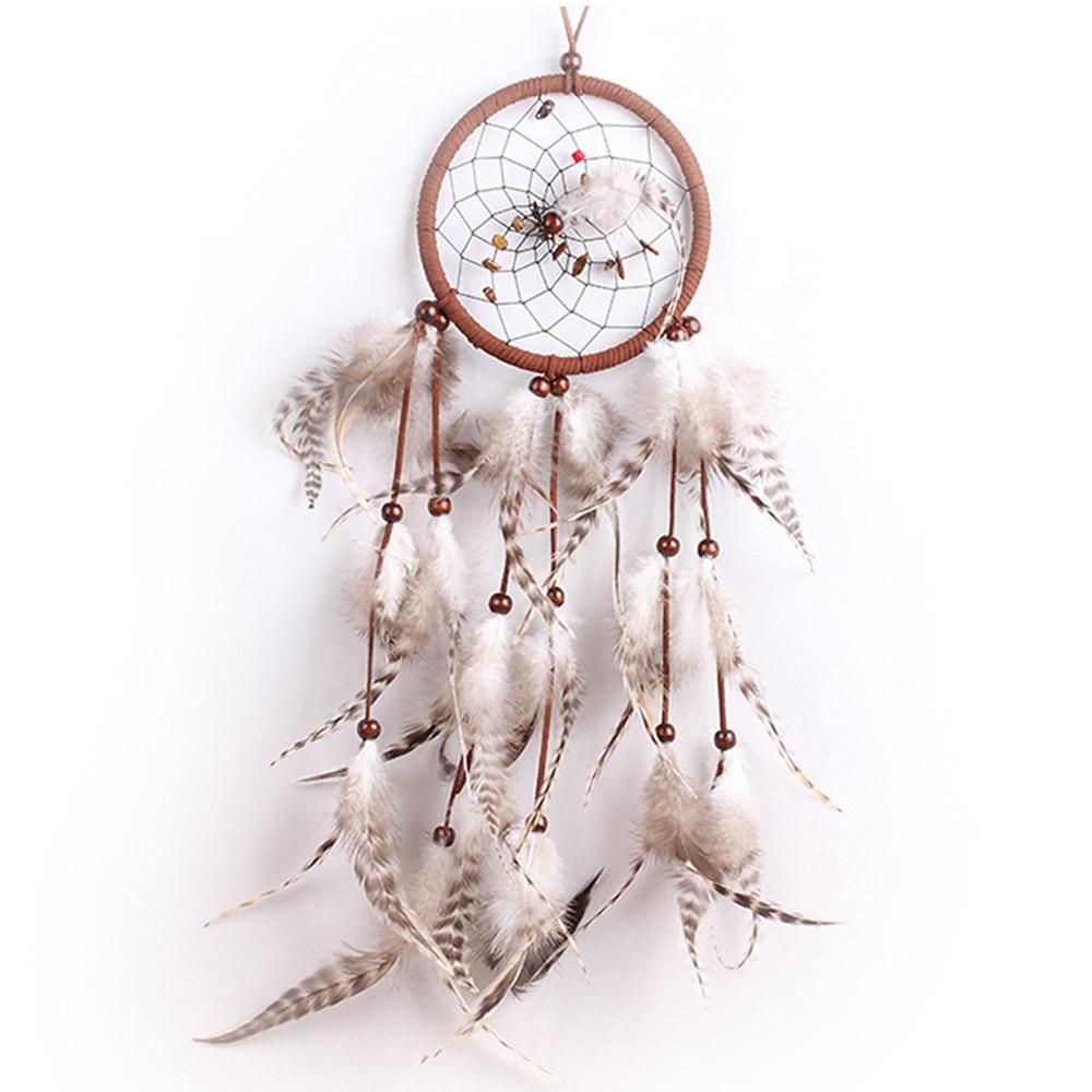 New Design Retor Styla Hand Woven Nature Brown Feather Dream Catcher Room Window Attrape Reve